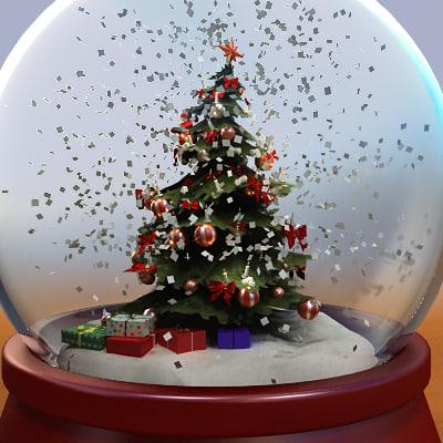3ds max snow globe tree christmas