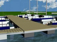 3d model of marina port sailing