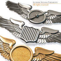 aviation wings badges 3ds