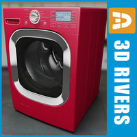 3d 3ds red washing machine