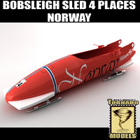 bobsleigh sled 4 places 3d model