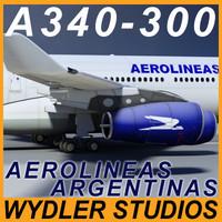 a340-300 aerolineas argentinas 3d 3ds