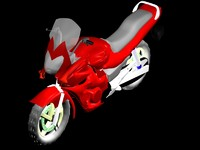 3d model of sports bike red