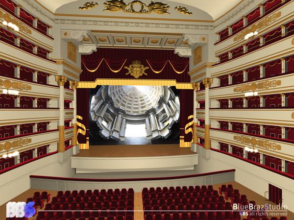 Opera theatre la scala 3d model for Theatre model