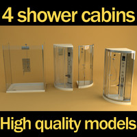3d model 4 shower cabins