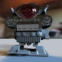 3d model of retro toy robot