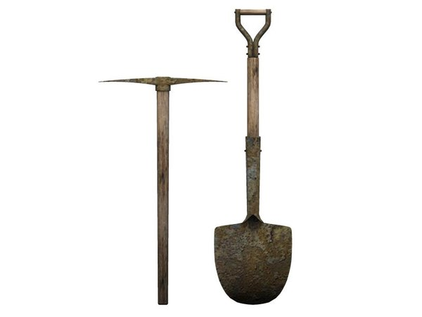 Maya shovel pick axe for Gardening tools 3d model