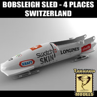 3d bobsleigh sled 4 places model