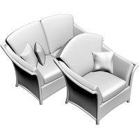 3d model loveseat armchair