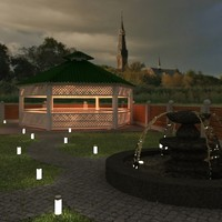 gazebo water fountain 3d x