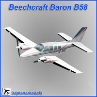 3d beechcraft baron b58 private