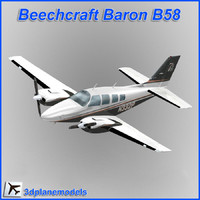 3d model beechcraft baron b58 private