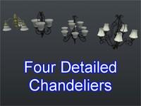 3d model set chandeliers