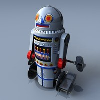 3d model retro toy robot