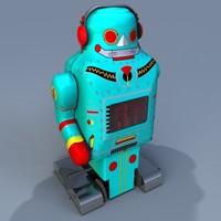 3d retro toy robot