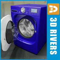 3d model blue washing machine