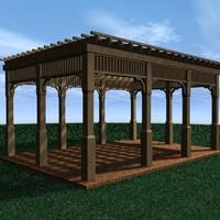 3d pergola brick wood