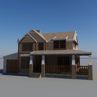 american house building - 3d model