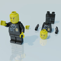 3ds max lego man police officer