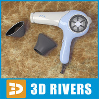Glamourous  white hairdryer by 3DRivers