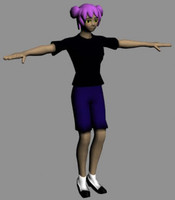free rpg anime character set 3d model