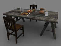 medieval dinner picnic table 3d ma