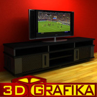 3d model shelf lcd tv