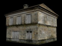 low poly high texture old house