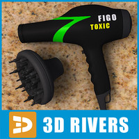 3d model toxic hairdryer hair style