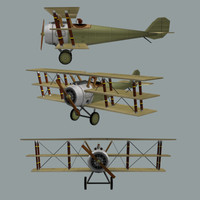 3d model triplane sopwith ww1