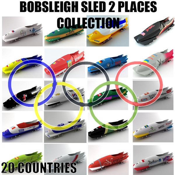 3d model bobsleigh sled 2 places. Black Bedroom Furniture Sets. Home Design Ideas