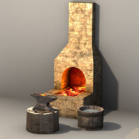3d blacksmith prop set model