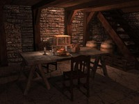 3d model medieval house indoors