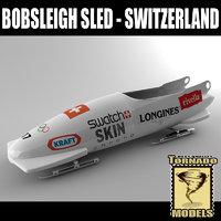 bobsleigh sled - switzerland 3d model