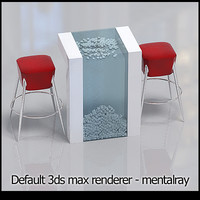 bar chairs table 3d max