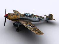 messerschmitt bf109-e7 trop fighters 3d model