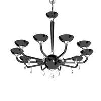 DiLUCE BLACK TUBE black murano glass swarowski crystal chandelier