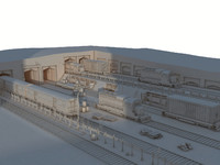3d model of trains stockyard