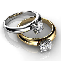 Engagement ring with white or white/yellow gold.