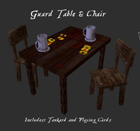 low-poly card table fantasy medieval 3d model