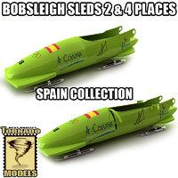 3d model bobsleigh sled - spain