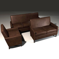 sofa set leather 3d obj