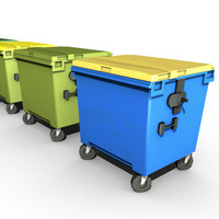 3d model of 4 garbage containers