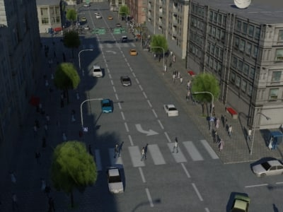realistic street 3d max - Populated Town... by xen32