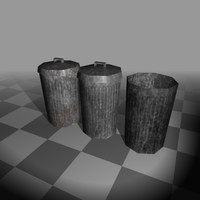 3d set trash cans