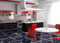 modern kitchen 2 3d model