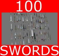 3d megapack 100 swords blade model