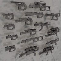blender scifi guns