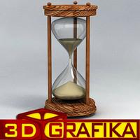 3d model sandclock wooden sand