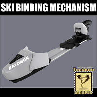 ski binding mechanism 3d model